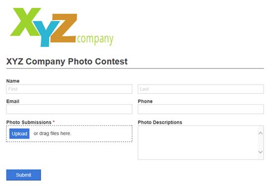 XYX Company Photo Contest form with logo.