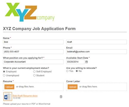 XYZ Job Application form