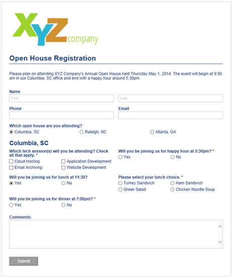 Open house registration form with conditional logic