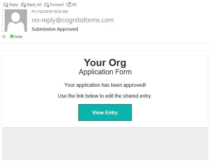 An email containing an edit link after the first stage submission.