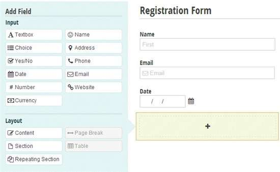 Easily drag and drop fields to create a registration form.