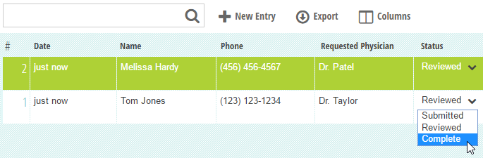 Change the entry status from the Entries page.