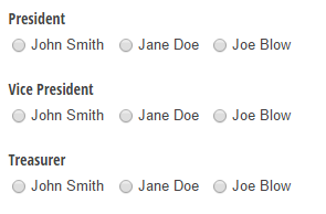 A ballot with three candidates and three different positions.