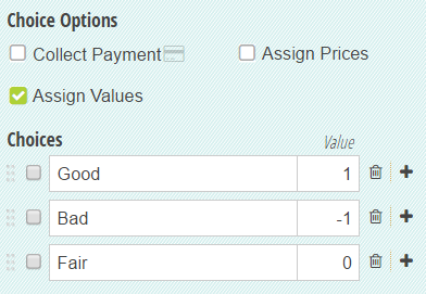 A Choice field with assigned values.
