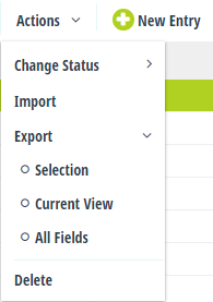 A list of operations, including the ability to change the entry status, import entries, export entries, and delete entries