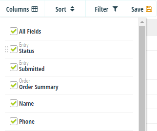 Select which columns to display on the Entries page.