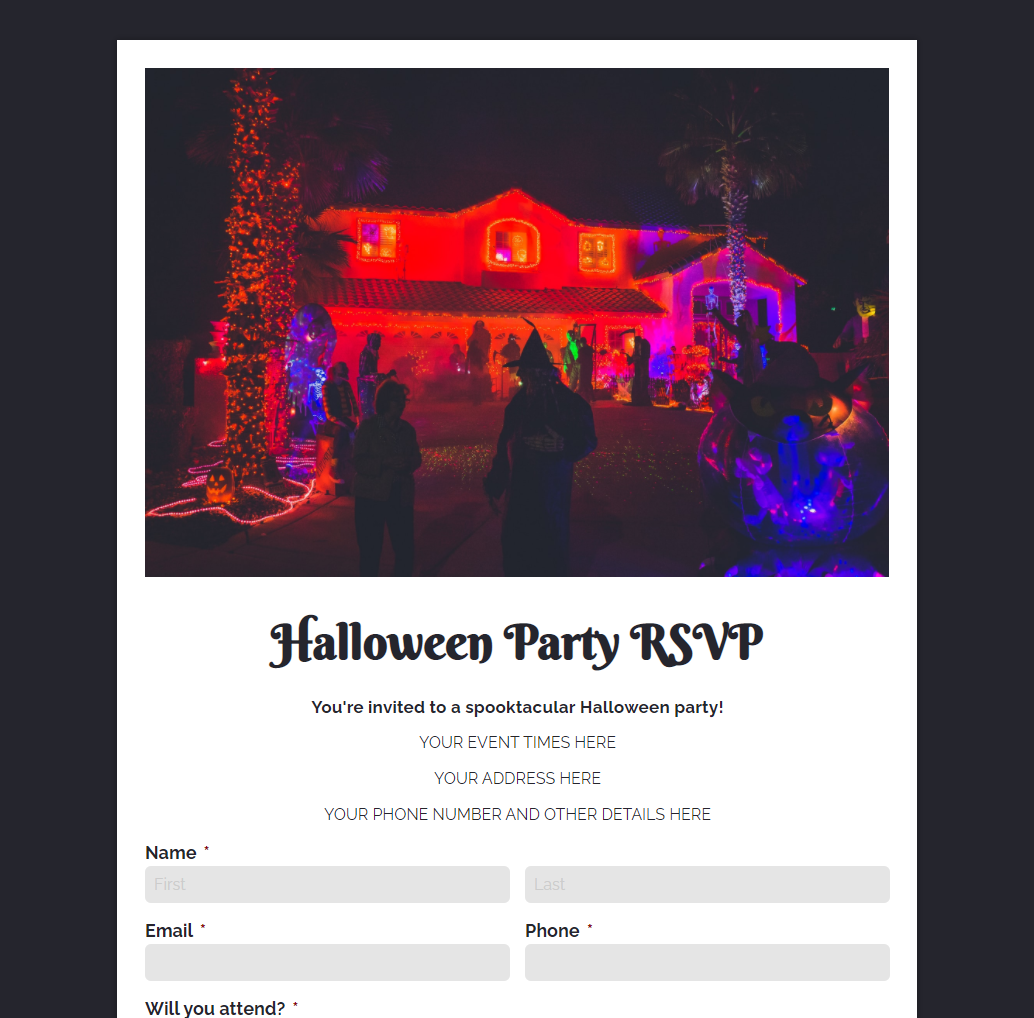 Halloween Party RSVP Form