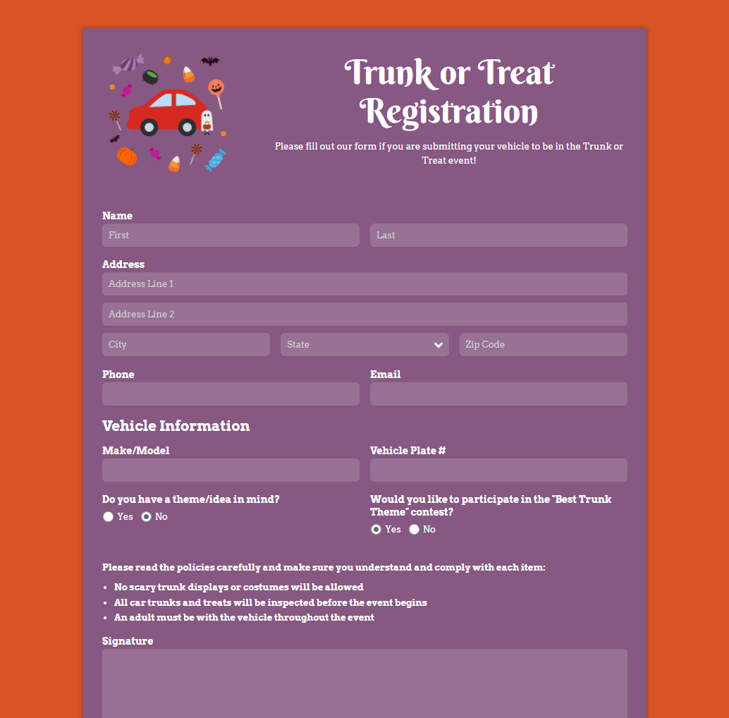 Trunk or Treat Registration Form