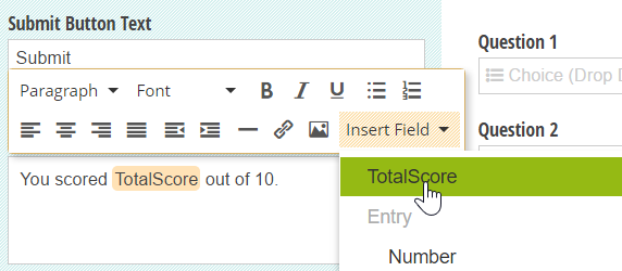 A Calculation field inserted directly into the form confirmation message.