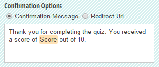 A custom confirmation message with the total score included.