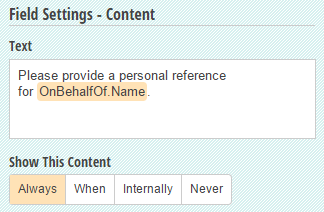 A content field with a Name field inserted along with the test.