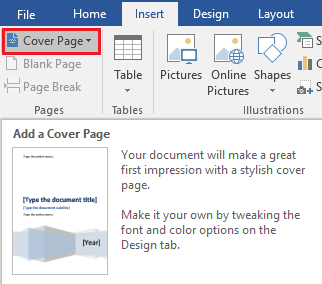 Add a cover page to your Word document.