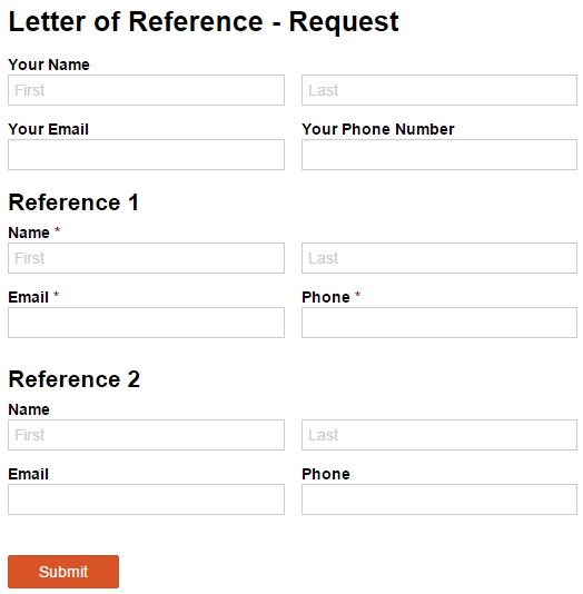 A letter of reference request form with Name, Email, and Phone Number fields.