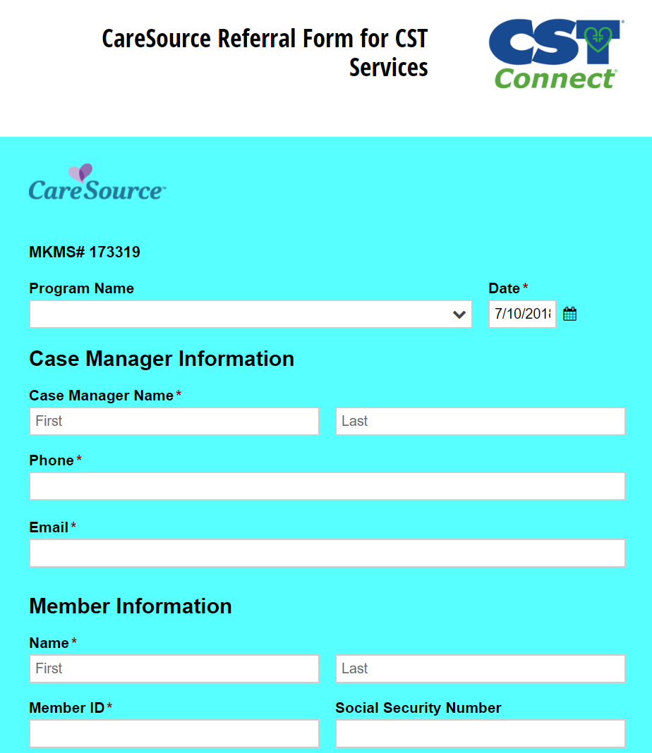 CareSource Referral Form for CST Services