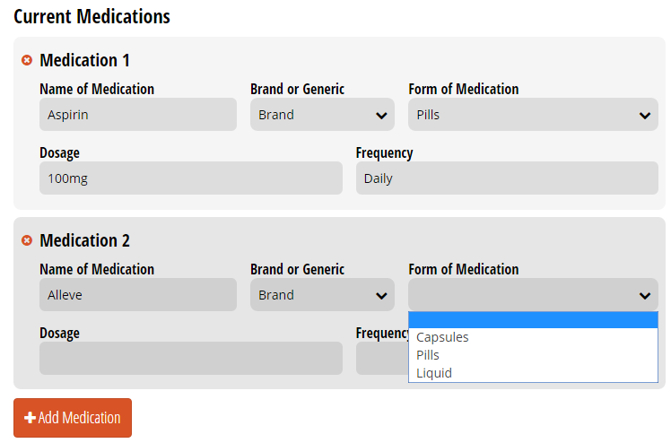 Repeating section with list of current medications.