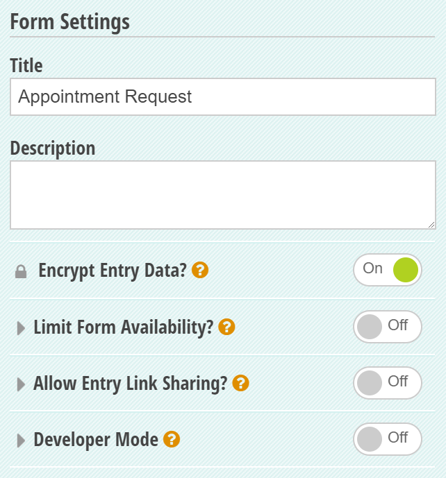 You can enable data encryption from your form settings.