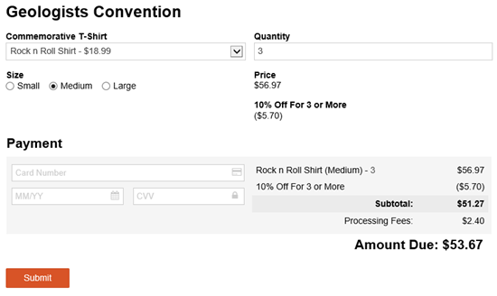 Convention signup with quantity discount