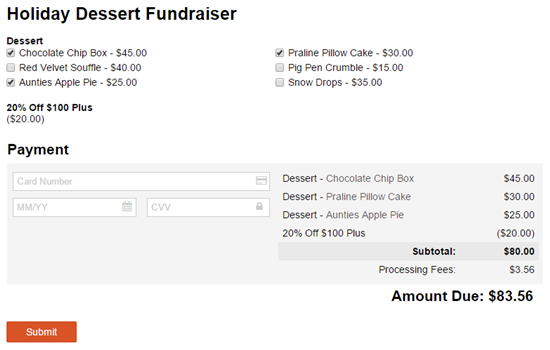 Holiday Dessert Fundraiser with cost discount