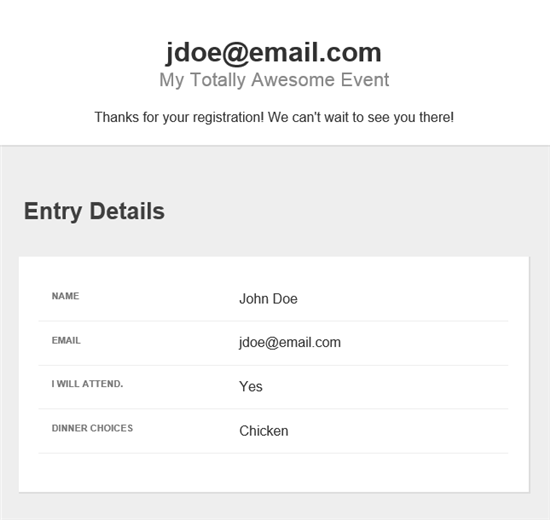 Example of a confirmation email.