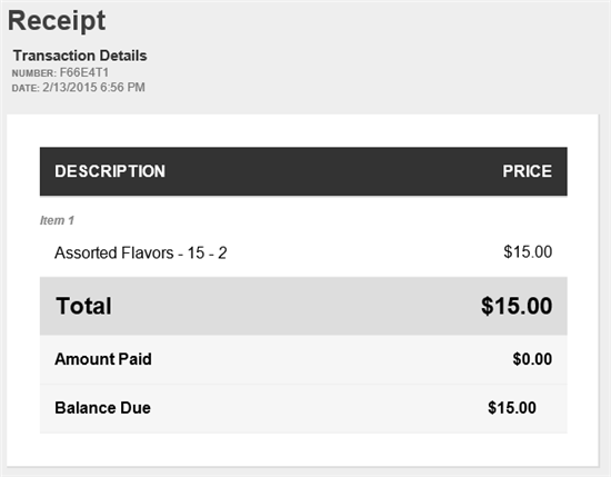Emailed receipt.