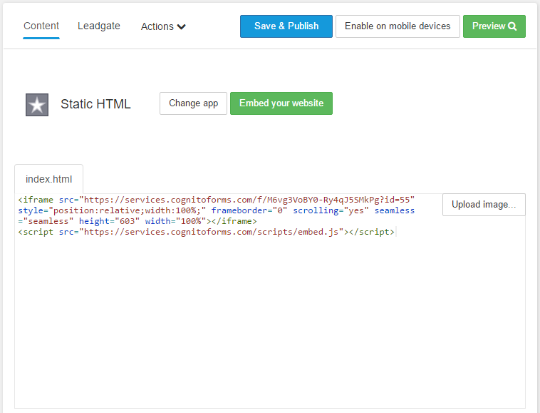 Embed form code in Static HTML app.
