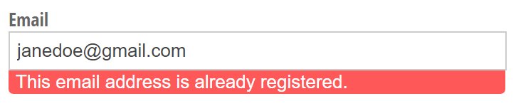 An error message indicating that an email address is already registered.