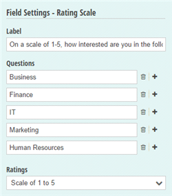 Rating Scale settings.