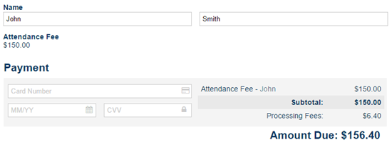 Example form charging for attendance.
