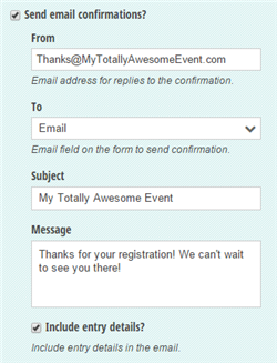 Email confirmation settings with a customized message.