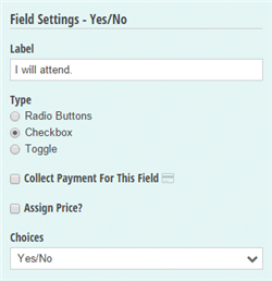 Yes/No field settings.