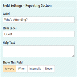 Repeating Section settings.