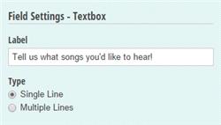 Textbox settings.