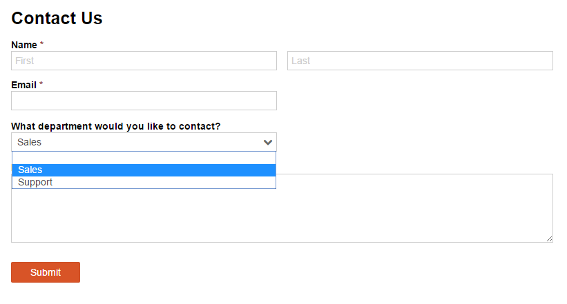 Example contact form