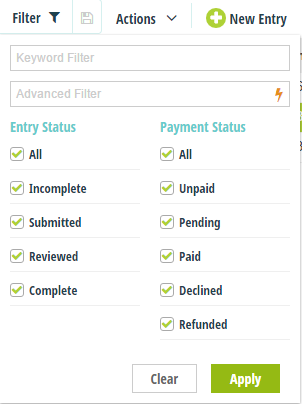 Filter entries by entry status, payment status, or specified criteria.