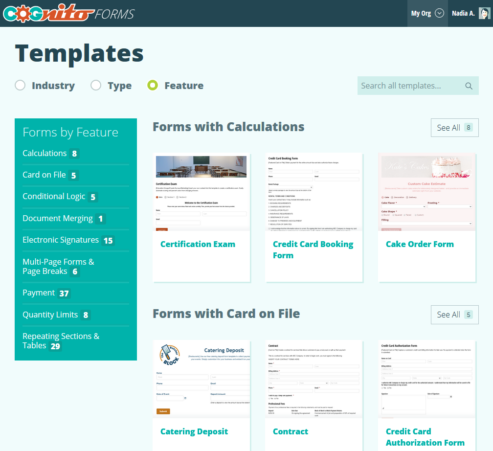 Cognito Forms template gallery.