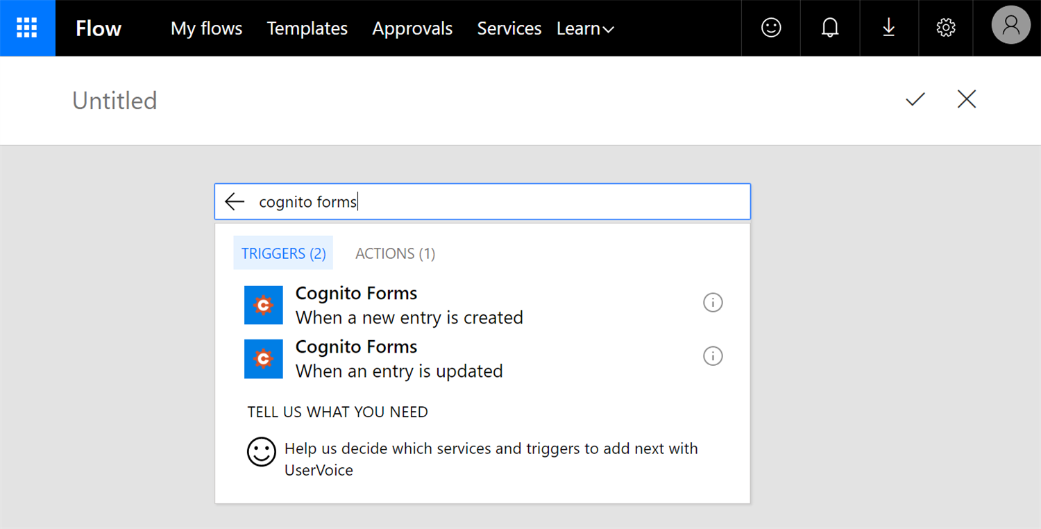 Cognito Forms triggers in Microsoft Power Automate.