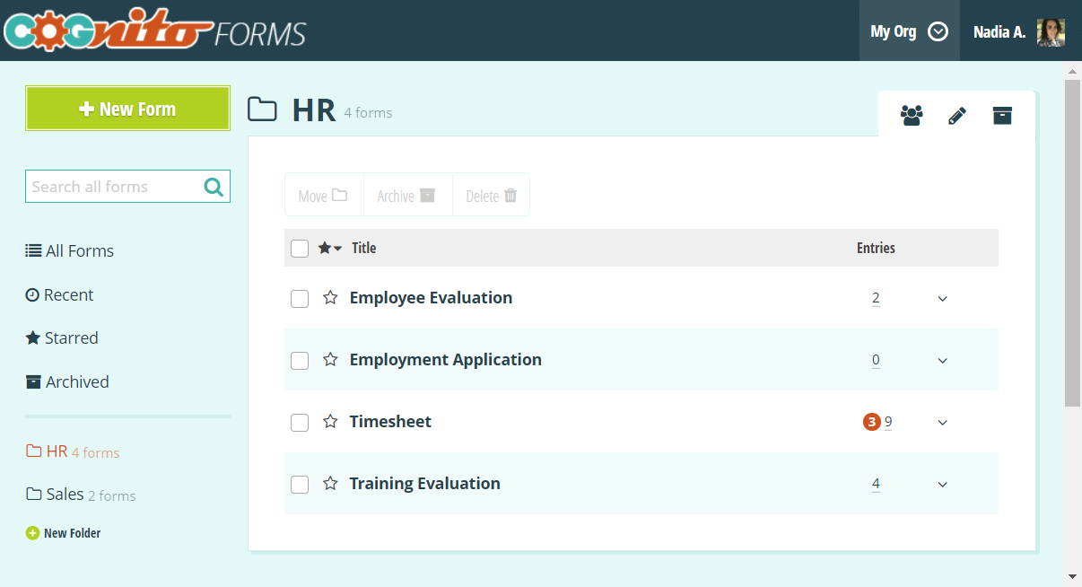 Forms homepage with folder organization.