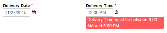 Incorrect delivery time displays an error message.