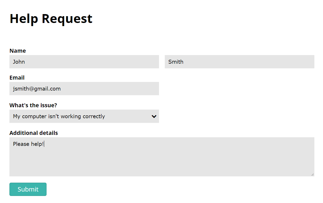Help Request Form Template