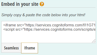 Cognito Forms Iframe embed option.