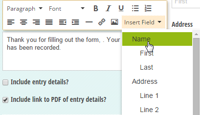 Custom confirmation message with fields inserted.