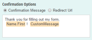 A custom confirmation message with the Name field included.