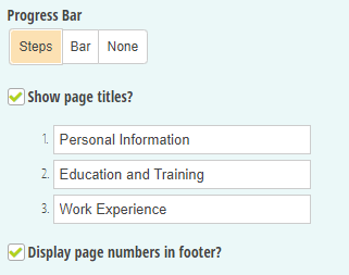 Add page titles to your multi-page form.