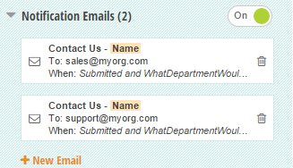 Multiple email notifications to route to different departments.