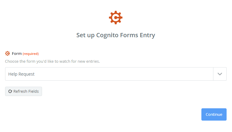 Selecting the form you'd like to watch for new entries.