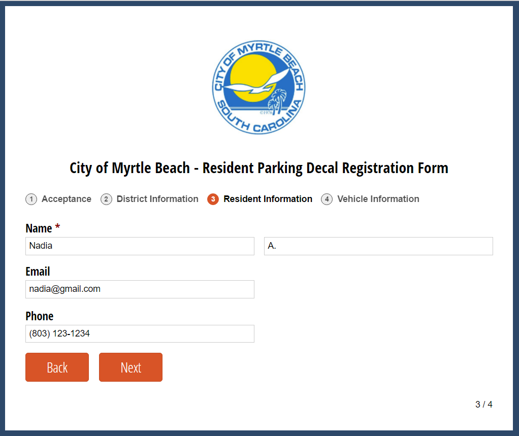 The City of Myrtle Beach parking decal registration form.