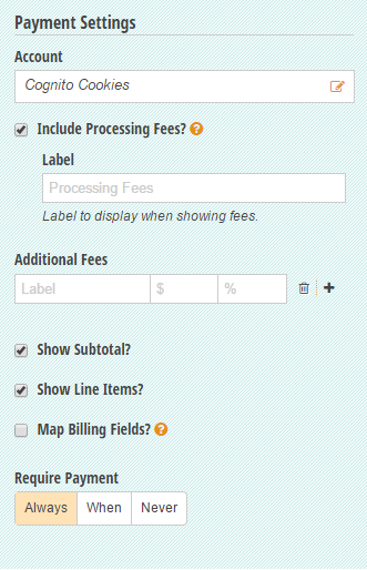 Settings on a payment form.