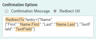 Insert field tokens into the form confirmation message.