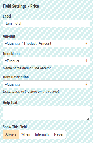 Settings on a Price field to multiply the quantity times the selected product's cost.
