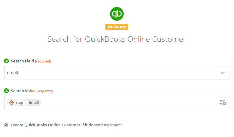 QuickBooks find customer option